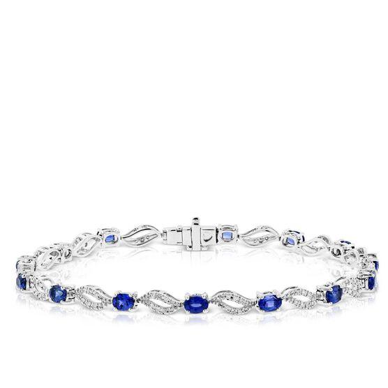 Oval Cut Sapphire & Diamond Bracelet 14K