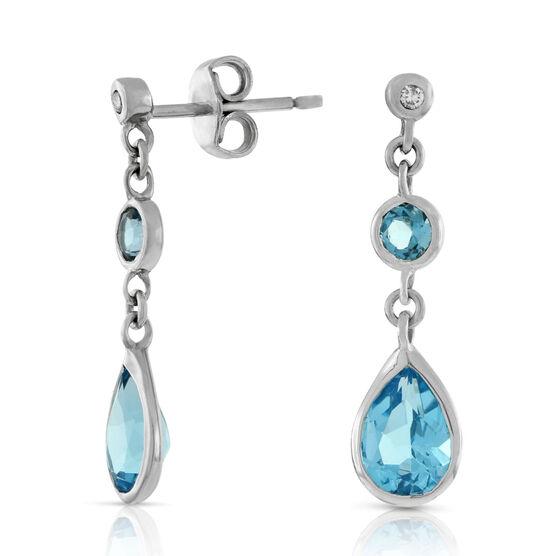 Blue Topaz & Diamond Earrings 14K