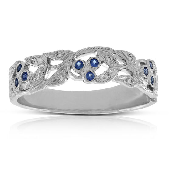 Sapphire & Diamond Floral Ring 14K