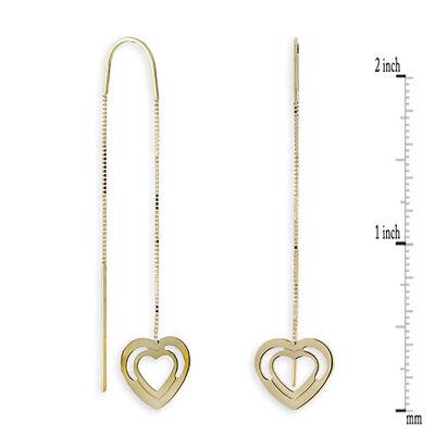 Heart Threader Dangle Earrings 14K