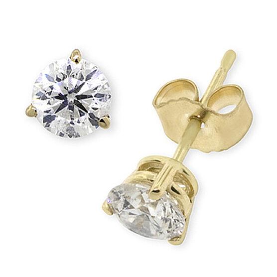 Diamond Solitaire Earrings 14K, 3/4 ctw.