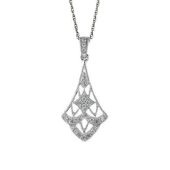 Filigree Diamond Drop Pendant 14K