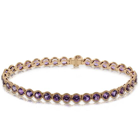 Rose Gold Amethyst Bracelet 14K
