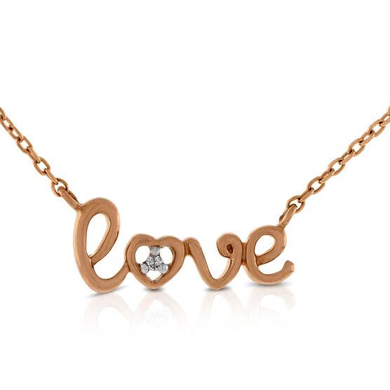 Rose Gold  Diamond Love Necklace 14K