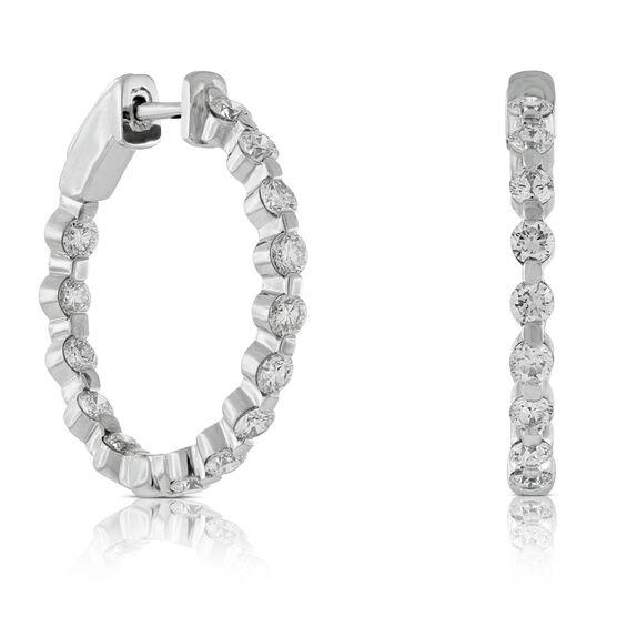 Diamond Hoop Earrings 14K, 2 ctw.
