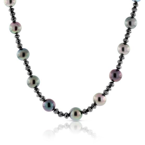Tahitian South Seas Cultured Pearl & Black Diamond Necklace 18K