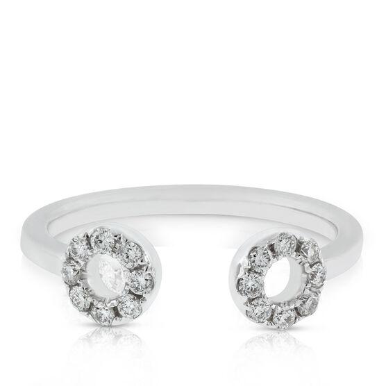 Open Circle Diamond Cuff Ring 14K