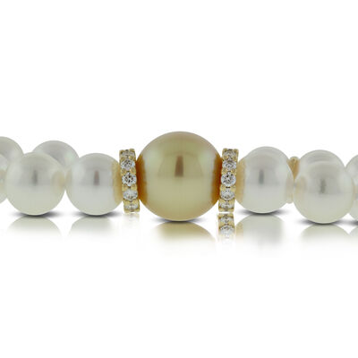 Mikimoto Akoya & Golden South Sea Cultured Pearl Bracelet 18K