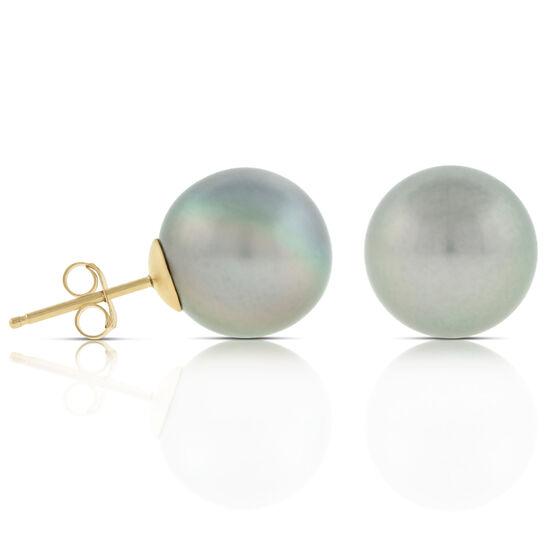 Tahitian South Sea Cultured Pearl Earrings, 11mm, 14K