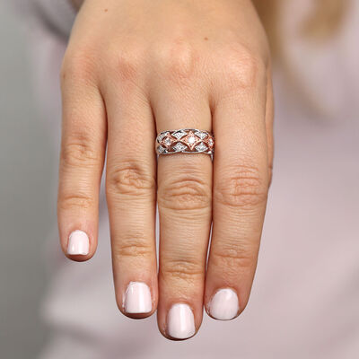 Rose & White Gold Filigree Diamond Band 14K
