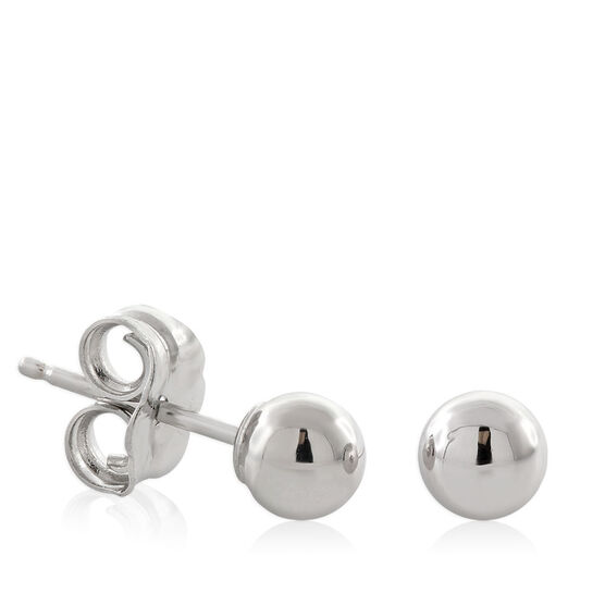 White Gold Stud Earrings 4mm 14K