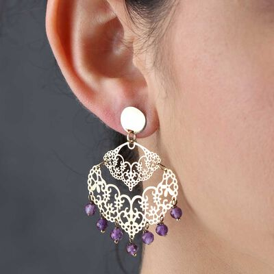 Amethyst Bead Chandelier Earring 14K