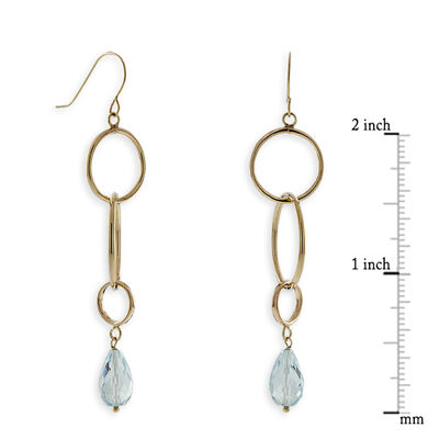 Blue Topaz Dangle Earrings 14K