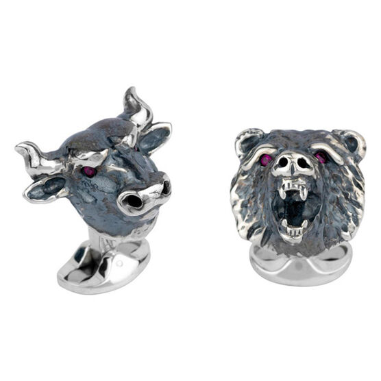 Deakin & Francis Bull & Bear Cufflinks in Sterling Silver