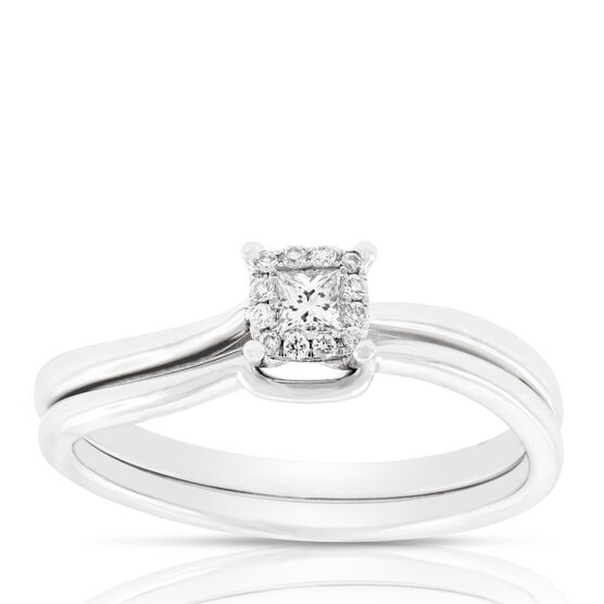 Diamond Princess Cut Halo Bridal Set 14K