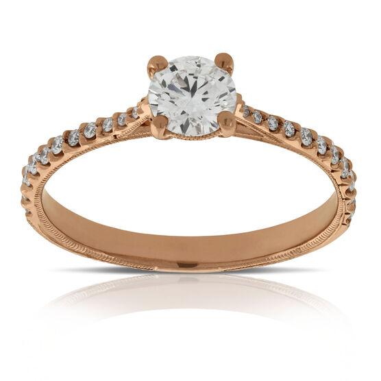 Rose Gold Diamond Engagement Ring 14K