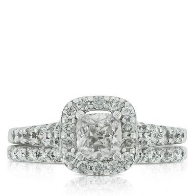 Cushion Cut Diamond Wedding Set 14K