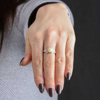 Opal & Diamond Fashion Ring 14K