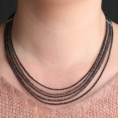 Lisa Bridge Multi-Row Hematite & Spinel Bead Necklace