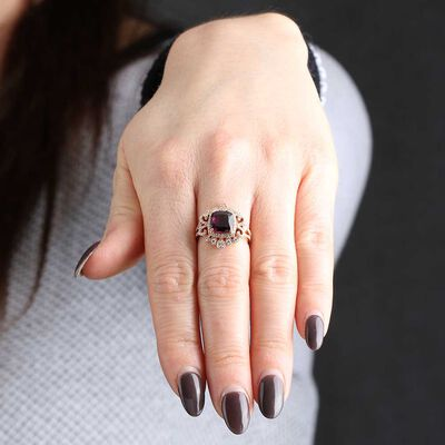 Rose Gold Cushion Rhodolite Garnet & Diamond Ring 14K