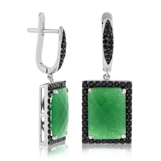 Lisa Bridge Chalcedony & Black Sapphire Earrings