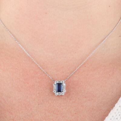Sapphire & Diamond Halo Pendant