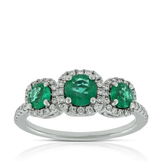 Triple Halo Emerald & Diamond Ring 14K