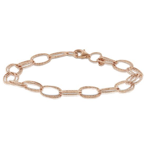 Rose Gold Toscano Double Link Bracelet 14K