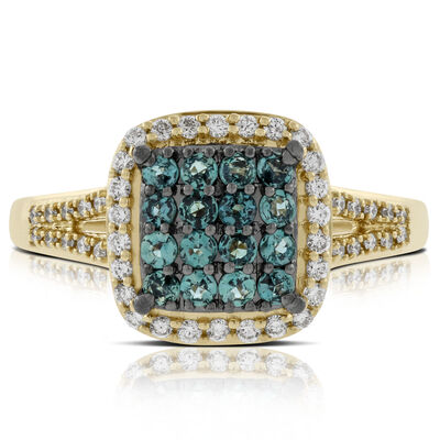 Cluster Alexandrite & Diamond Ring 18K