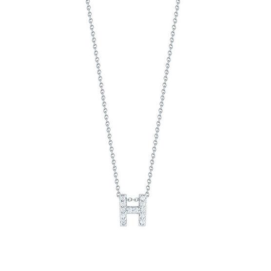 Roberto Coin Diamond Initial Pendant 18K Letter 'H'