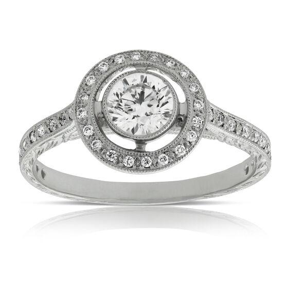 Bezel Set Halo Diamond Engagement Ring 14K
