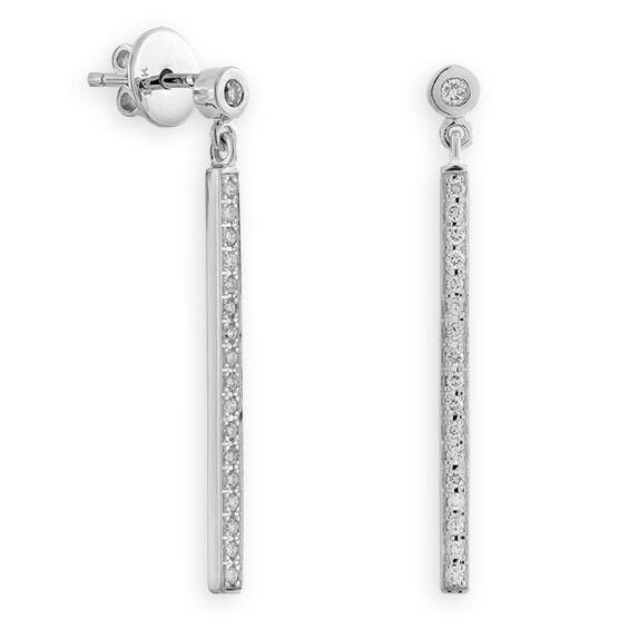 Diamond Bar Earrings 14K