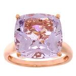 Rose Gold Amethyst & Diamond Ring 14K
