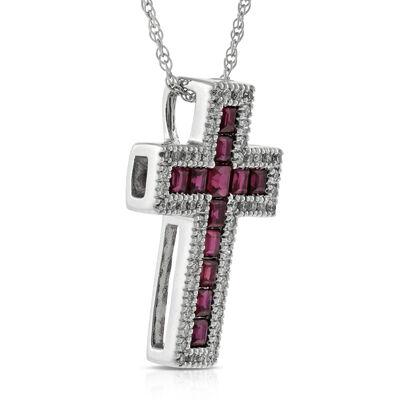 Ruby & Diamond Cross Pendant 14K