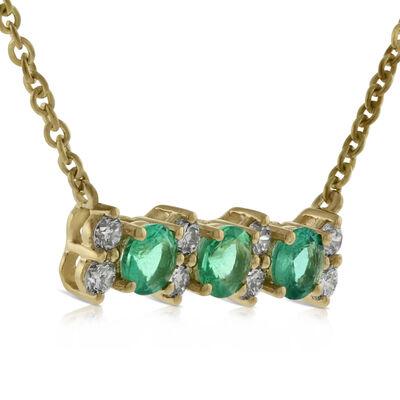 Emerald & Diamond Bar Necklace 14K