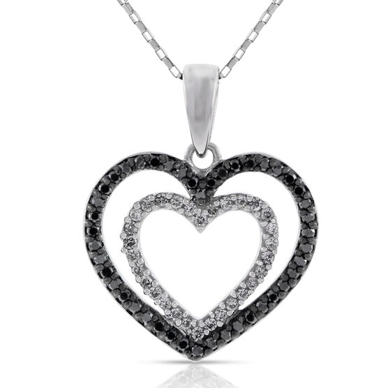 Black & White Diamond Heart Pendant, 14K
