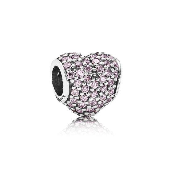 PANDORA Pink Pavé Heart Charm