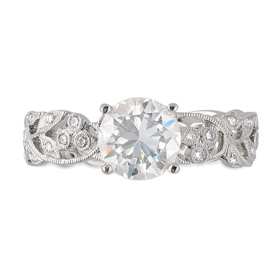 Floral Diamond Engagement Ring 14K