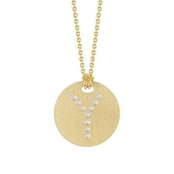 Roberto Coin Diamond Initial Pendant 18K Letter 'Y'