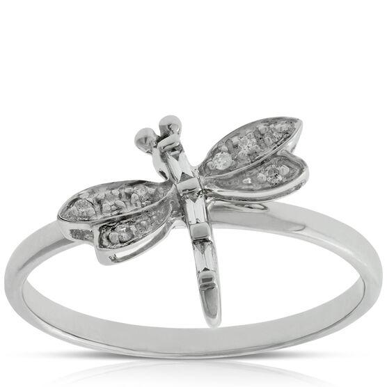 Diamond Dragonfly Ring 14K