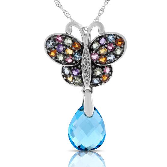 """Gemstone Butterfly Pendant 14K, 18"""""""