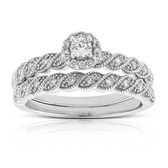 Diamond Milgrain Halo Wedding Set 14K