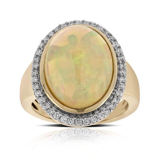 Opal & Diamond Ring 14K