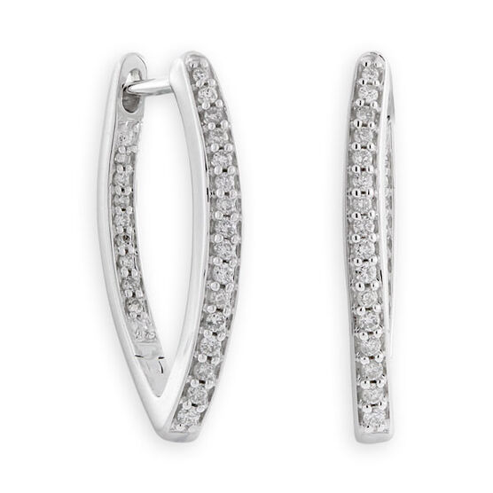 Front to Back Diamond Hoop Earrings 14K