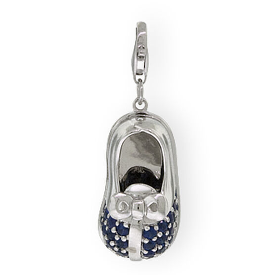 Baby Shoe Sapphire Charm / Pendant 14K