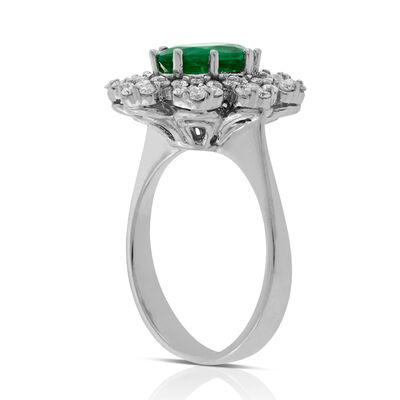 Emerald & Diamond Bold Halo Ring 14K