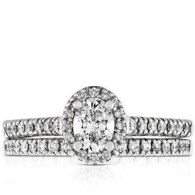 Oval Diamond Wedding Set 14K