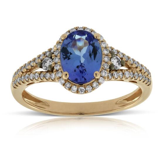 Rose Gold Tanzanite & Diamond Ring 14K