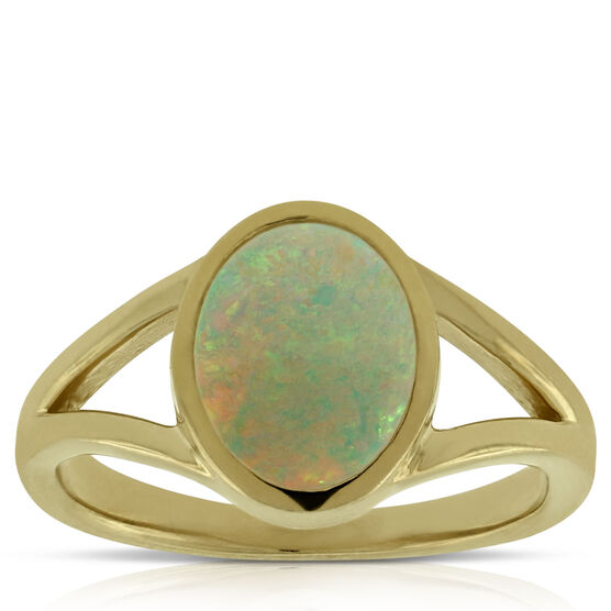 Opal Split Shank Ring 14K