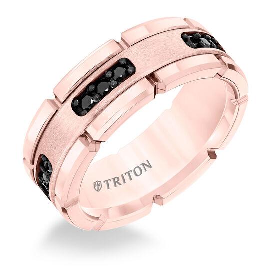 TRITON Rose Tungsten Black Diamond Band